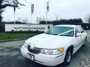 white wedding car hire, the nottinghamshire golf club