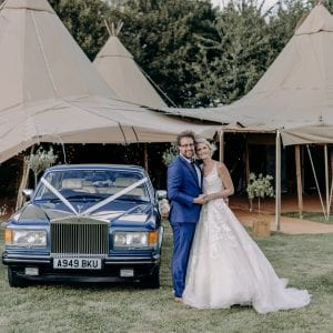 Tipi wedding with Rolls-Royce