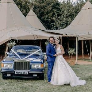 Tipi wedding with Rolls-Royce
